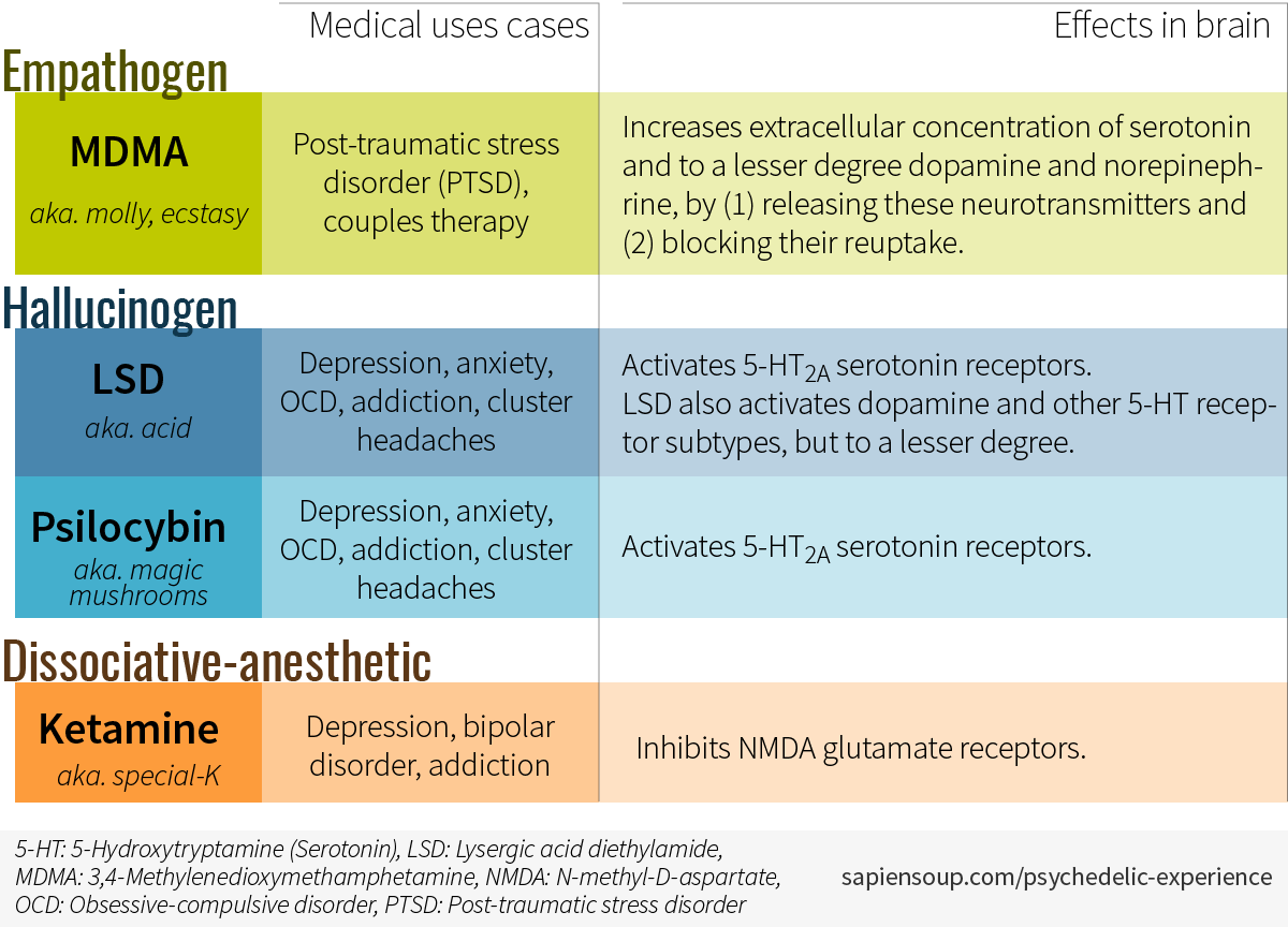 Categorization of psychedelic drugs in empathogen or entactogen, hallucinogen, dissociative-anesthetic